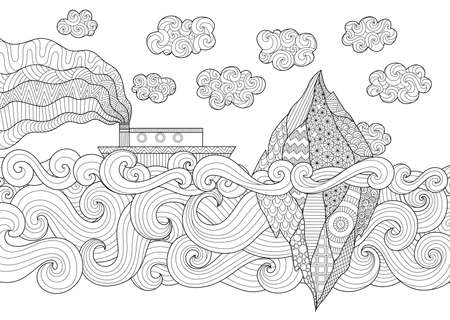 anti stress: Zendoodle design of seascape with running vessel and iceberg for illustration and adult coloring for anti stress - Stock Vector