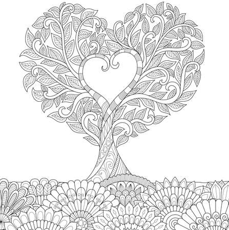 Zendoodle design of love treefor illustration and adult coloring for anti stress - Stock Vector