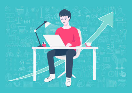 casters: Young entrepreneur working on online business from home on his home working table with hand drawn business icons and arrow background. Freelance lifestyle.Internet of things concept.-Stock Vector