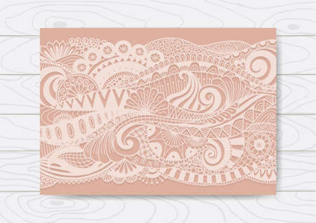 lazer: Abstract floral doodles design for lazer cut out for wedding card, Valentines card and other cards - Stock Vector