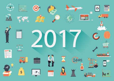 Feliz Año Nuevo 2017 de texto de papel con una larga sombra y los iconos planos de negocio. tamplate Banner