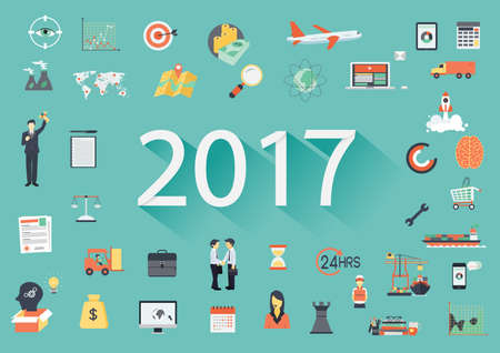 worldwide wish: Happy New Year 2017 paper text with long shadow and business flat icons. Banner tamplate