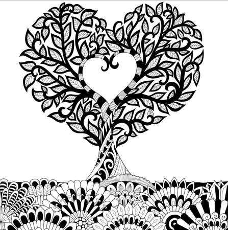 Flores en forma de corazón en la línea de fondo diseño de arte para el libro de colorante para adultos, tatuaje, camiseta gráfica, tarjetas y así sucesivamente Ilustración de vector