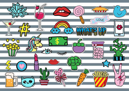 whatever: Hand drawn colorful T shirt patches sexy chick stuffs including eyelash, red lips, whatever eyes roll, fruits, money,unicorn,cat and so on - Stock Vector Illustration