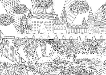 printable coloring pages: Zendoodle castle landscape for background, adult coloring and design element. Stock. Illustration