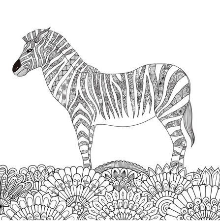 zendoodle design of zebra standing on floral field for adult coloring book pages