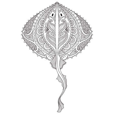 zendoodles design of Stingray for adult coloring book pages, T-Shirt graphic,logo, tattoo and other design element. - Stock. Illustration