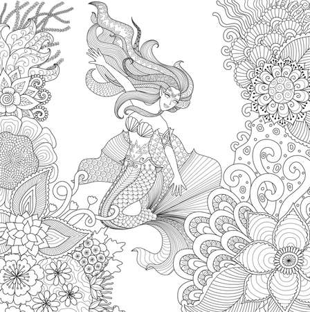 adult mermaid: Zendoodle design of beautiful mermaid swimming among beautiful corals for adult coloring book pages