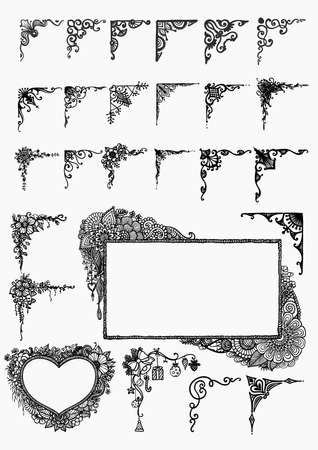 photo frame: Big set of hand drawn frames for design element Illustration