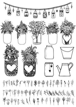 Grande set di vasi di muratore e fiori selvatici per elemento di design per le schede di nozze, carte regalo, carta di San Valentino e così via. Foto Stock Vettoriali