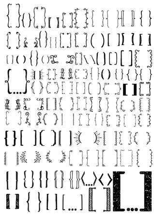 Big set of hand drawn Bracket. Bracket icon set for design element
