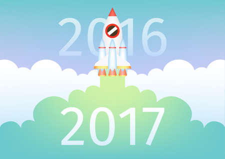 Start up rocket fly through year 2016 bringing the new year 2017 Illustration