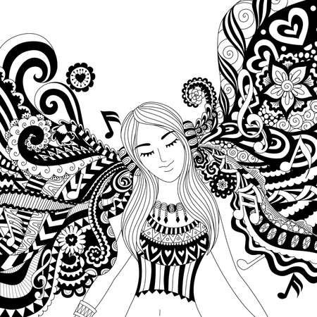 Girl listening to music happily zendoodle design for banner , card, T shirt , adult coloring book pages