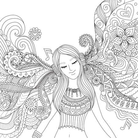 Girl listening to music happily zendoodle design for banner , card, T shirt , adult coloring book pages Illustration