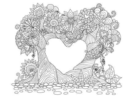 Flowers in heart shape on floral ground line art design for coloring book for adult, tattoo, T- Shirt graphic, cards and so on Stock Illustratie