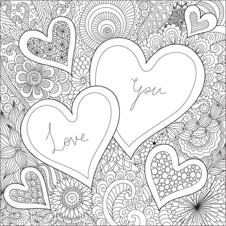 Hearts On Florals Background With Hand Drawn Typography LOVE YOU For Valentines Card Wedding Invitation