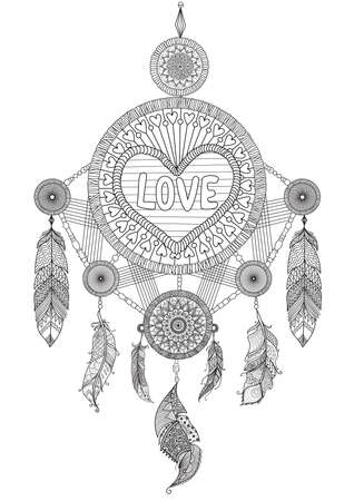 Heart shape dream catcher with beautiful feathers for coloring book for adult, wedding invitation and valentines card