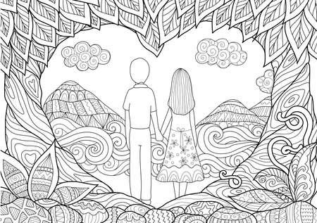silhouette fleur: Un couple tenant la main passer du bon temps ensemble sur la plage avec deux arbres de flexion en forme c?ur pour les pages du livre de conception de cartes et de coloration adulte. Joyeuse saint Valentin Illustration