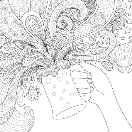 toast: Zendoodle design of hand holding a glass of beer for adult coloring book pages, poster and so on Illustration