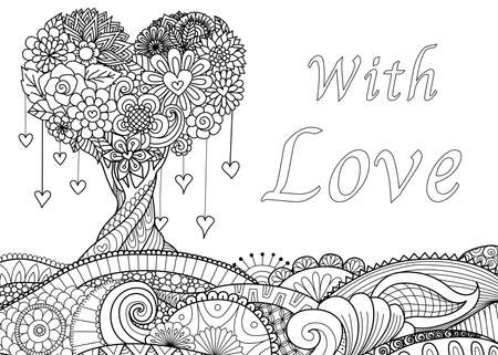 Hearted tree on floral ground for Valentine's card,wedding invitations and adult coloring book page