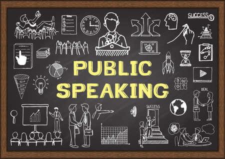 Übergeben Sie gezogene Geschäftsikonen über öffentliches Sprechen auf Tafel