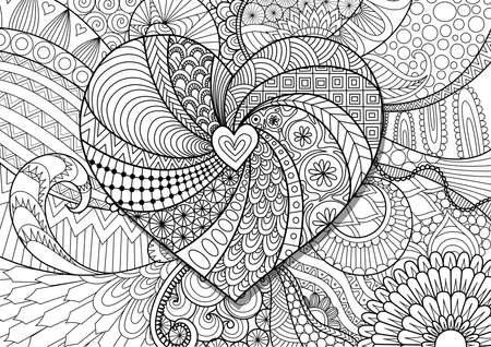 Zendoodle hearted shape on floral background for cards and adult coloring book page