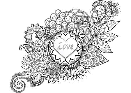 Hearted shape with the word LOVE on floral background for cards,invitation and adult coloring book page Illustration