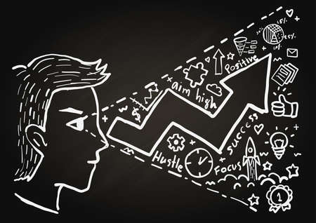 upturn: Hand drawn a young entrepreneur see the positive thing, success vision