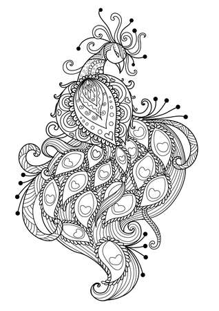 Line art design of beautiful peacock for adult coloring book page and other design element