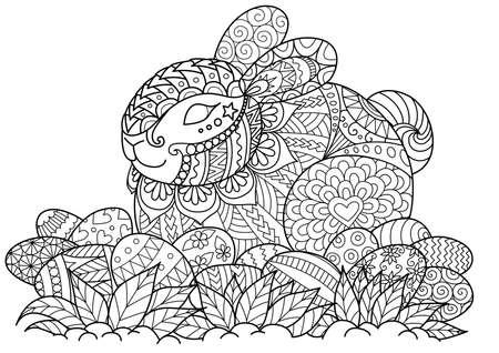 Pequeño conejito que se sienta en los huevos de Pascua para el adulto para colorear la página del libro, la tarjeta de pascua y el otro elemento del diseño Ilustración de vector