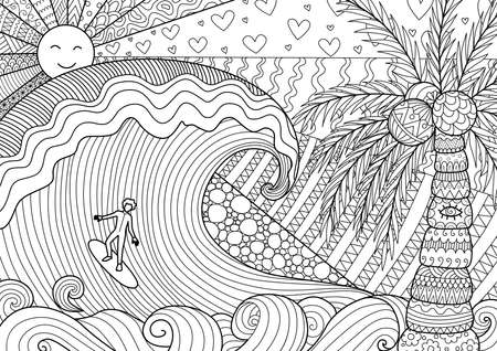 Man surfing on big wave design for adult coloring book page and other design element Vectores