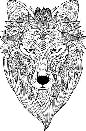 Zendoodle는 성인 색칠하기 책 페이지 및 디자인 요소에 대한 무서운 늑대의 얼굴을 양식화합니다.