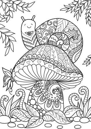 Escargot mignon assis sur un beau champignon