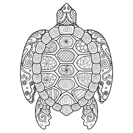 Zendoodle design of turtle for design element,t shirt design and coloring book page for adult 矢量图像