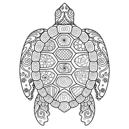 Zendoodle-ontwerp van schildpad voor ontwerpelement, t-shirtontwerp en kleurboekpagina voor volwassenen Vector Illustratie