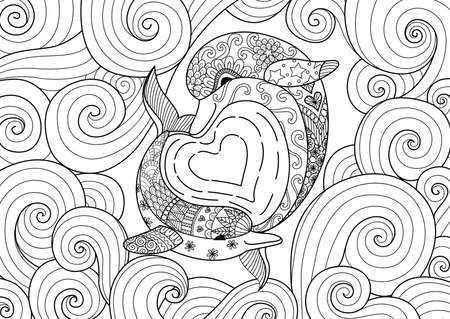 Dolphin couple swimming in hearted shape and beautiful scrolling sea wave for design element and coloring book for adult Imagens - 90582097