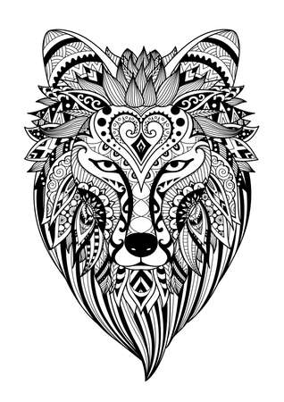 Zendoodle design of wolf head for design element and coloring book for adult