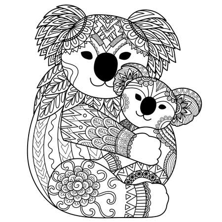 Koala bear mother hugging her baby for design element and coloring book page