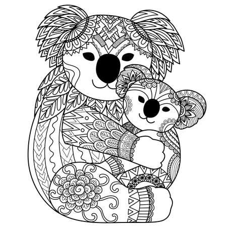 Koala beer moeder knuffelen haar baby voor design element en kleurboekpagina Stock Illustratie