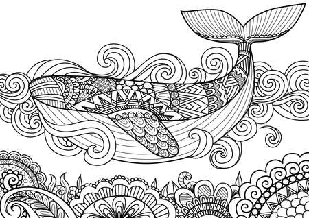 Giant beautiful whale swimming in the ocean over beautiful coral, design for coloring book page,T-Shirt design, pillow cover design and other design element Illustration