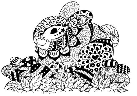 Zendoodle design of cute rabbit sitting on Easter eggs for design element and coloring book page