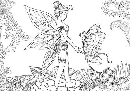 꽃 정글에서 나비와 함께 노는 작은 요정 소녀