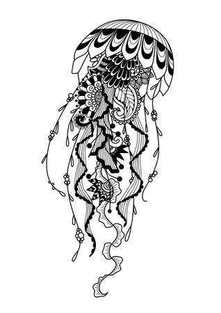 Zendoodle of jellyfish for coloring page and design element