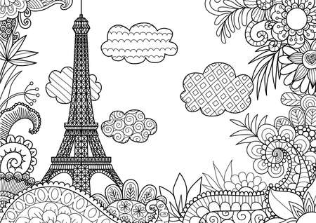 Spring in Paris for coloring book page