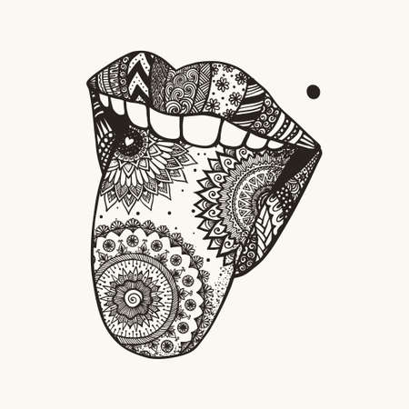 Woman tongue out for tattoo,T-Shirt design and other design element Illustration
