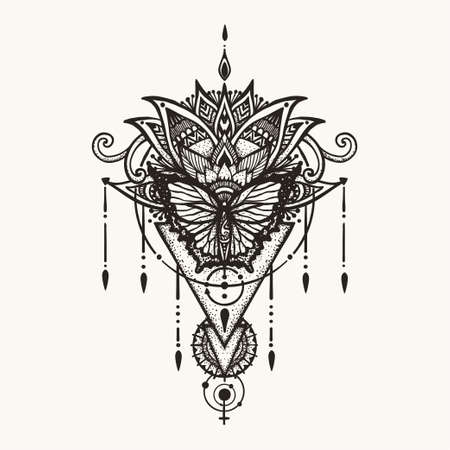Hand drawn butterfly on boho flowers with geometric symbol of female and astrology. Illustration