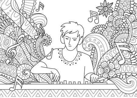 Dj 색칠하기 책에 대 한 음악 재생입니다. 주식 벡터