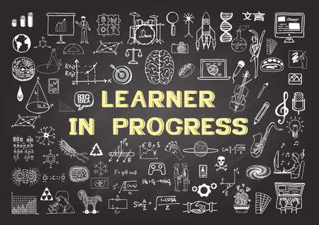 Hand drawn icons about Learning in progress on chalkboard. Stock Vector