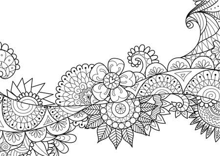 vecter: Doodled flowers flow for adult coloring book page and design element. Stock Vecter Illustration