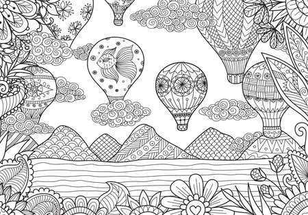 Hot air balloons flying in summer time for adult coloring book page. Stock Vector Illustration